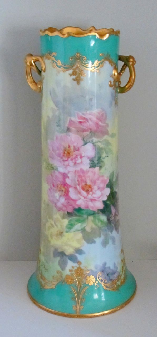 15 Hp Dresden Vase With Pink Roses Heavy Gold Signed S Bach