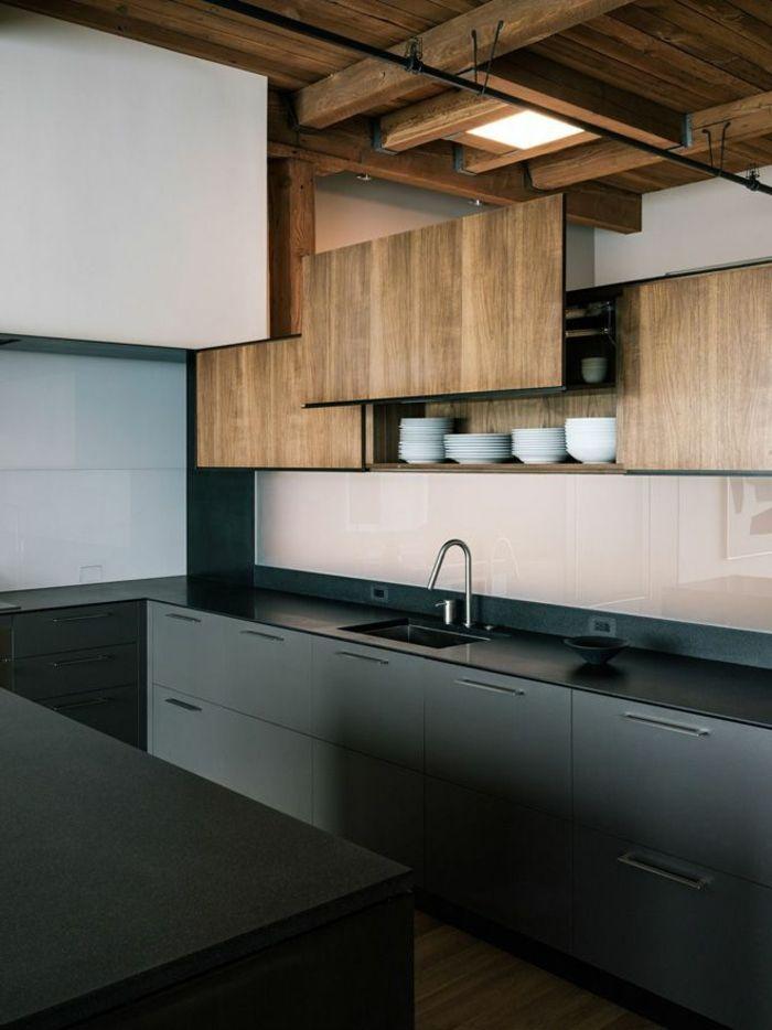 küche schwarze einrichtung minimalistisch tolle küchenschränke - küche in u form