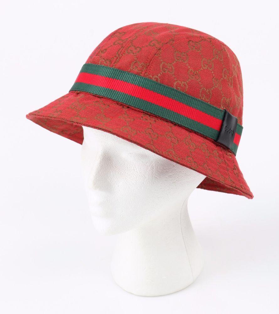 7172b1da167a8 GUCCI Red Monogram GG Guccissima w  Red Green Signature Stripe Bucket Hat  Size L  Gucci