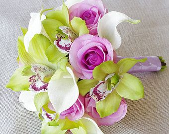 calla orchid bouquet rose pink green - Google Search