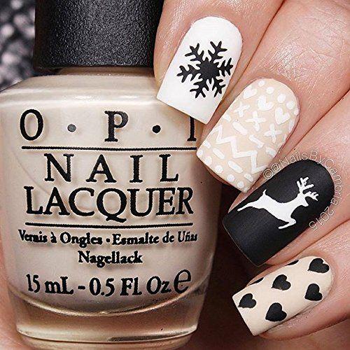 Christmas Deer Gold Merry Snowflake Nail Art Beauty Nails