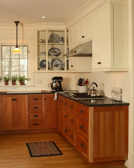 Two Tone Kitchen Cabinets White And Oak: Mixed Upper And Lower Cabinets