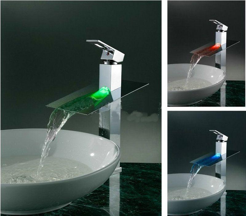 Waterfall Basin Faucet Solid Brass Sink Tap Mixer Bathroom Basin ...