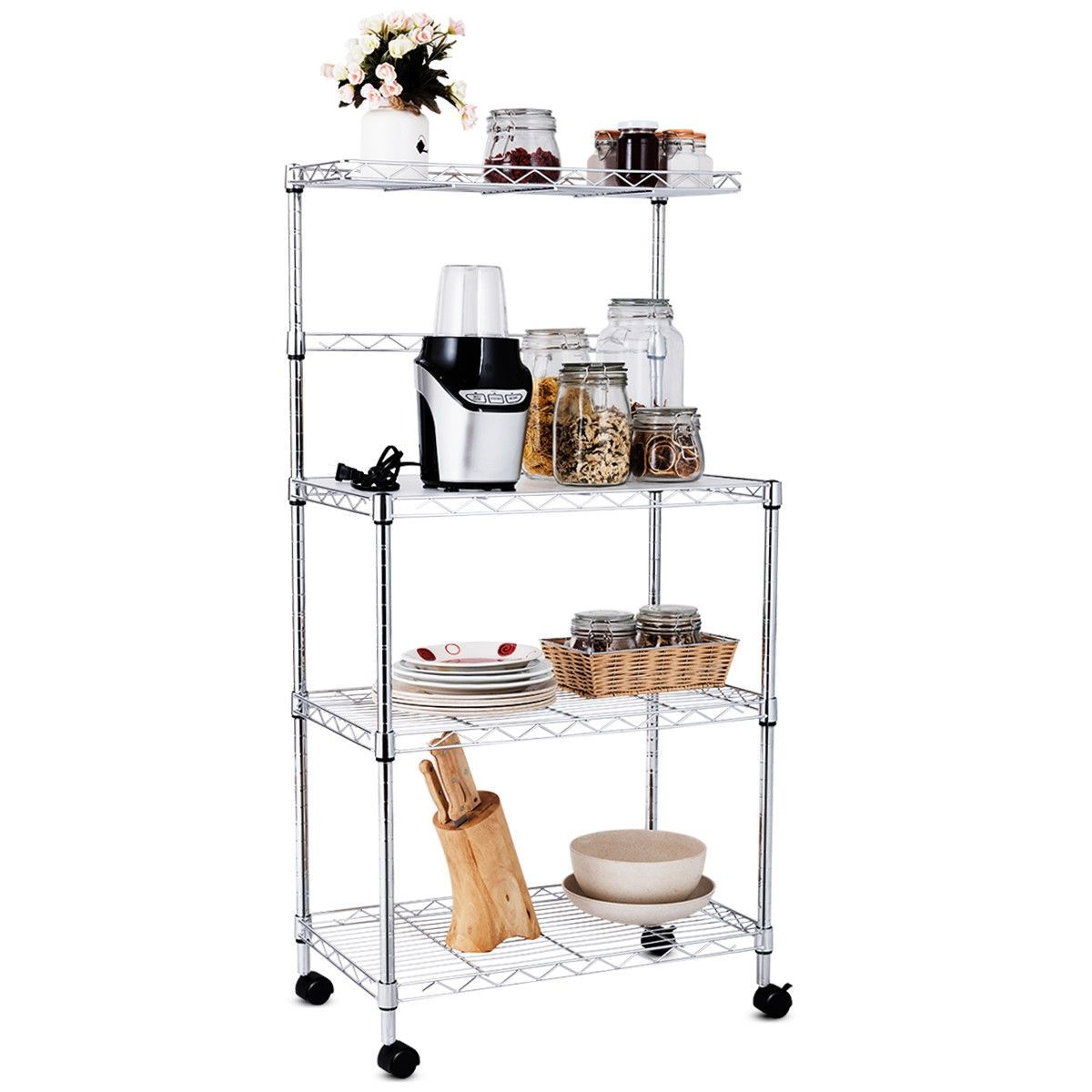 3 Tier Kitchen Microwave Baker Stand Storage Cart Rack With