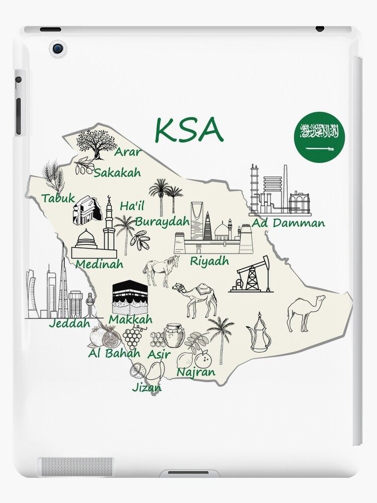 Saudi Arabia Map Hand Drawn Ksa Tourist Attractions Cities Flag Ipad Retina 3 2 Snap Case By Mashmosh In 2021 City Flags Map National Day Saudi