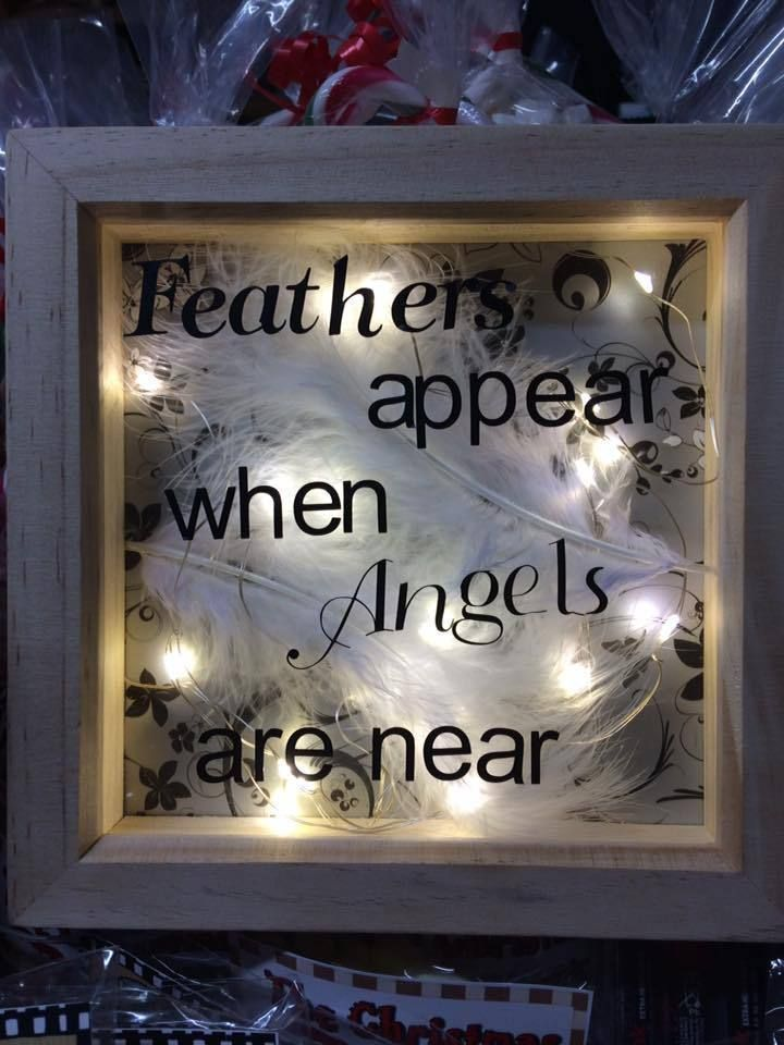 Feathers Appear When Angels Are Near Light Up Box Frame 15cm X 15cm