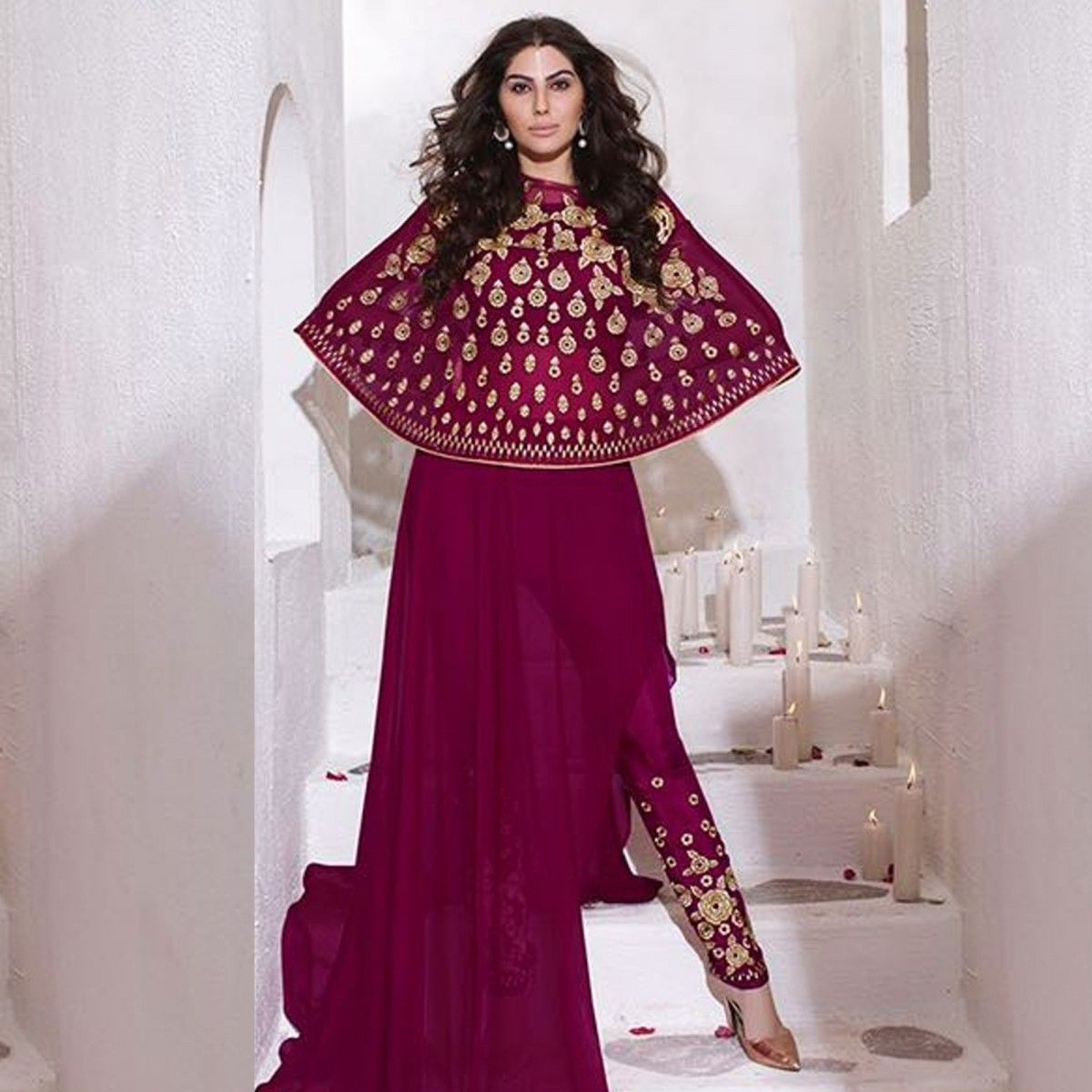 Buy Magenta Cape Style Designer Suit for womens online India, Best ...