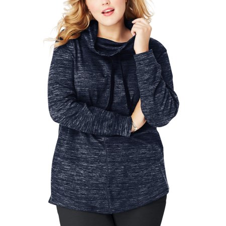 Just My Size Cowl-Neck French Terry Womens Tunic