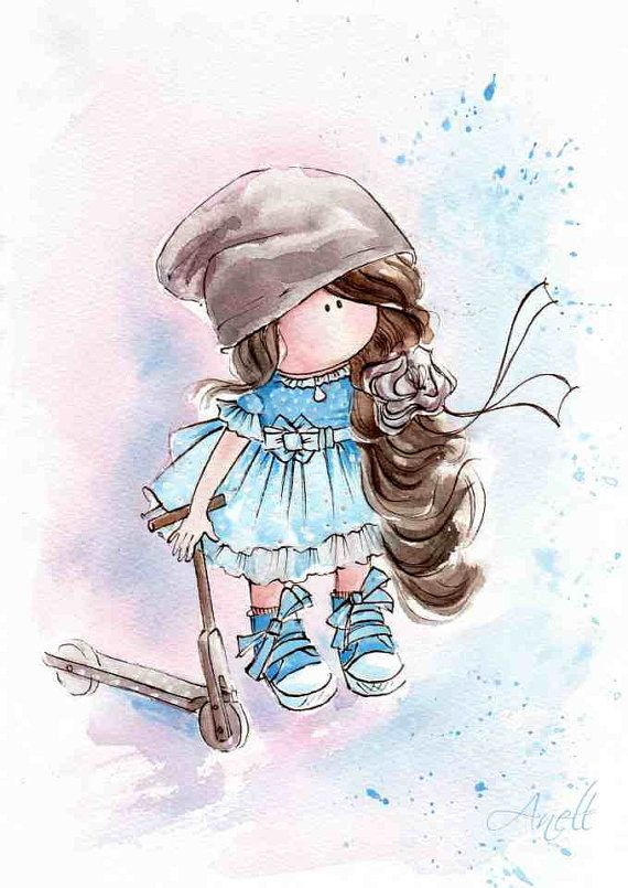 Little Brown Haired Girl Watercolor Print Watercolor