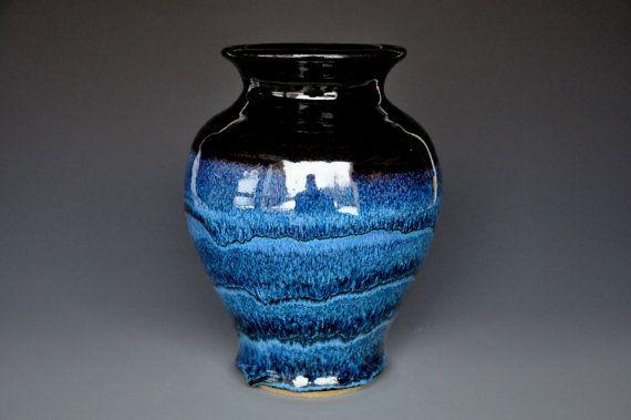 Vase Ceramic Layered Blue Black Pottery Vase C Etsy Pottery Vase Vase Pottery