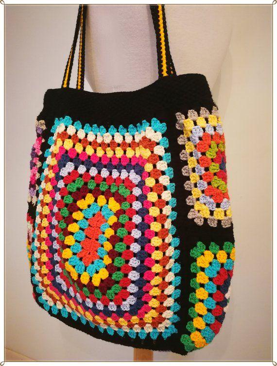 Crochet Bag, Shoulder Bag, Tote Bag, Shopping Bag, Summer Bag, Rainbow Bag, Gift for Her, Retro Style, Vintage Style, Hippie Style, Gift