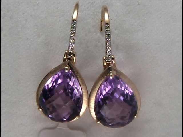 Lady's 14k Yellow Gold Amethyst Earrings