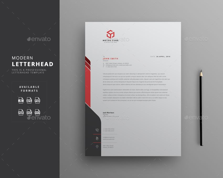 corporate letterhead template with super modern and corporate look