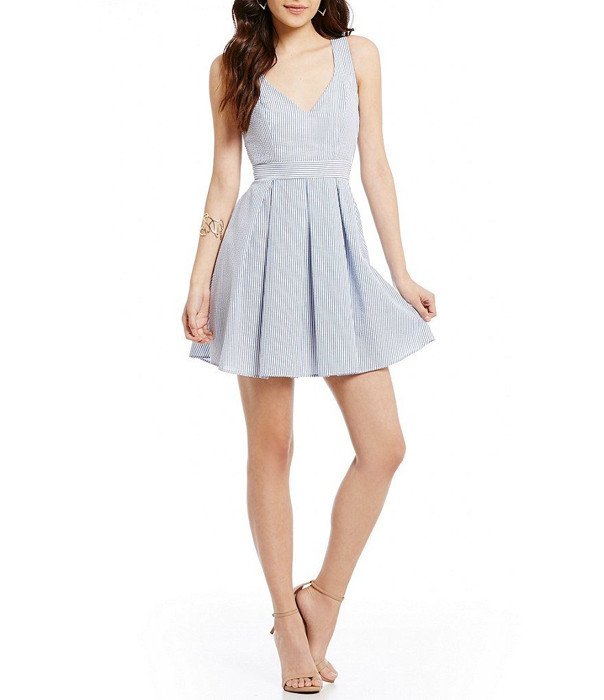956dd2c888a B. Darlin Sleeveless V-Neck Bow-Back Fit-and-Flare Dress