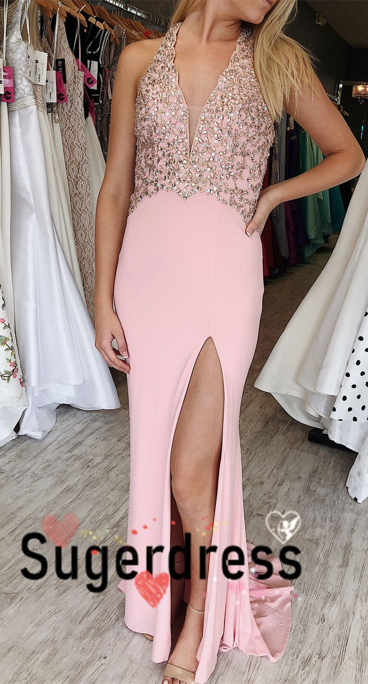 Gorgeous pink long prom dress with beaded top from sugerdress in
