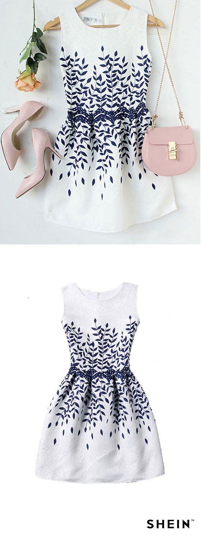 Branch print fit u flare dress for my closet pinterest fit