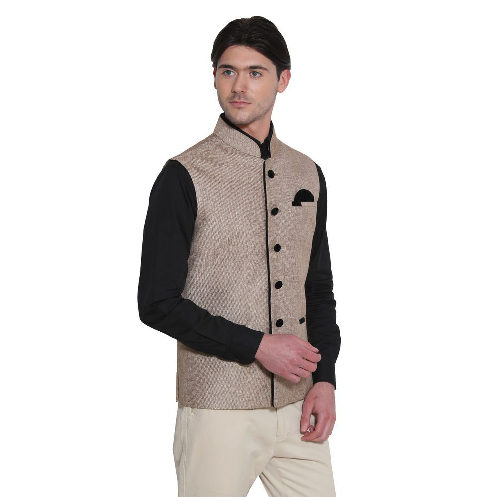 Mens Designer Indian Wedding Stylish Waistcoat Vest Formal Top Nehru Jacket  Coat