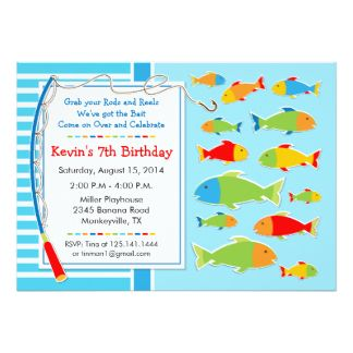 Fishing Theme Birthday Party Invitation Bar Mitzvah Invitations