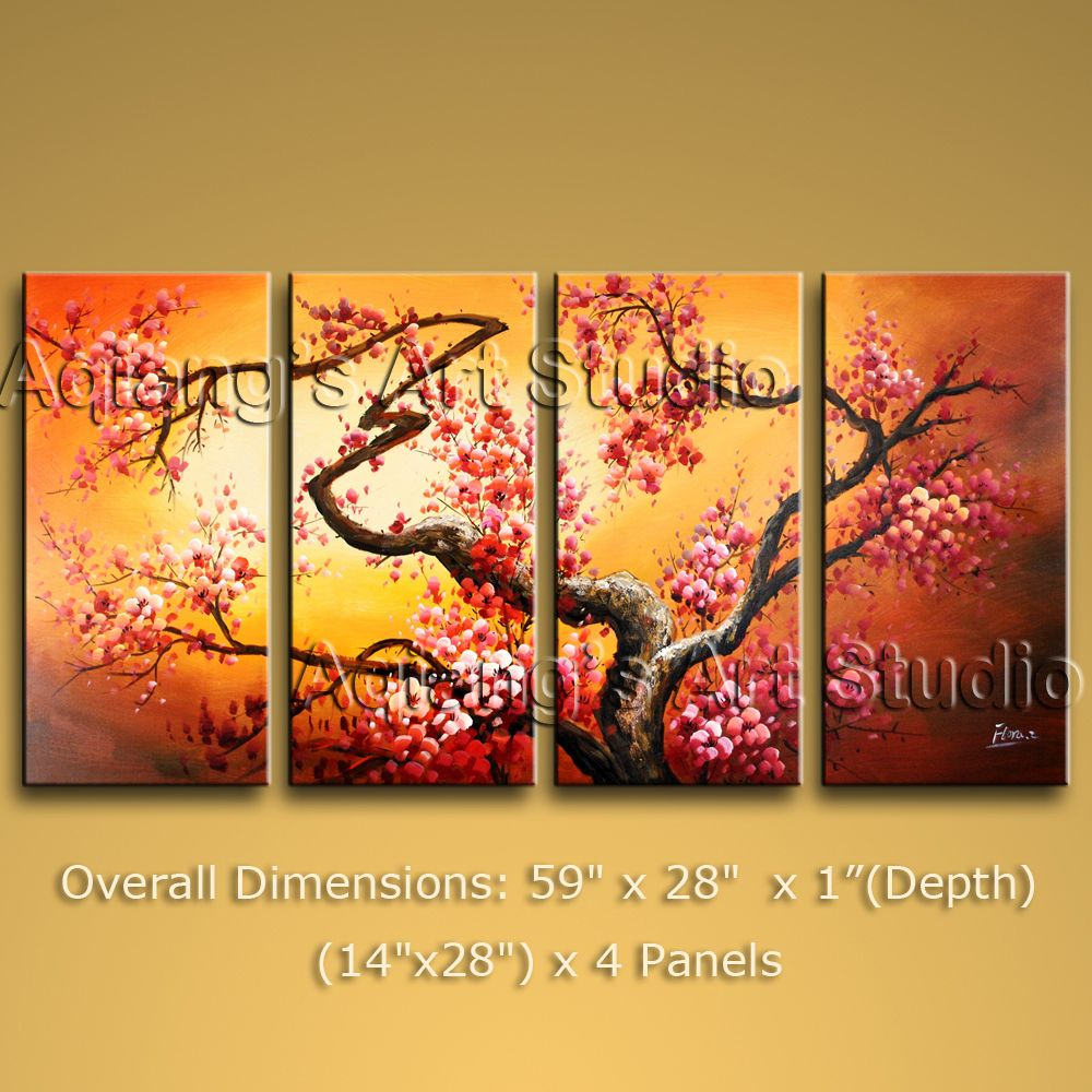 Large Modern Impression Painting Abstract Canvas Wall Art Plum ...