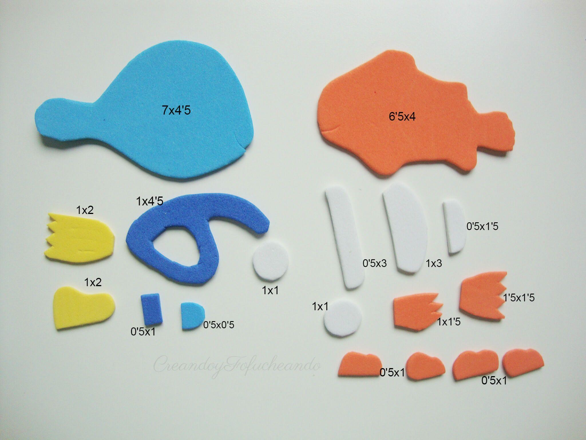 Piezas y medidas para hacer a Dory y Nemo en goma eva gomaeva