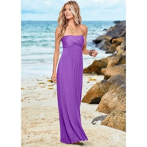545b98efcaa3 Venus Strapless Maxi Dress (130 RON) ❤ liked on Polyvore featuring dresses, purple  maxi dress, purple dress, strapless dress, strapless maxi dress and maxi ...