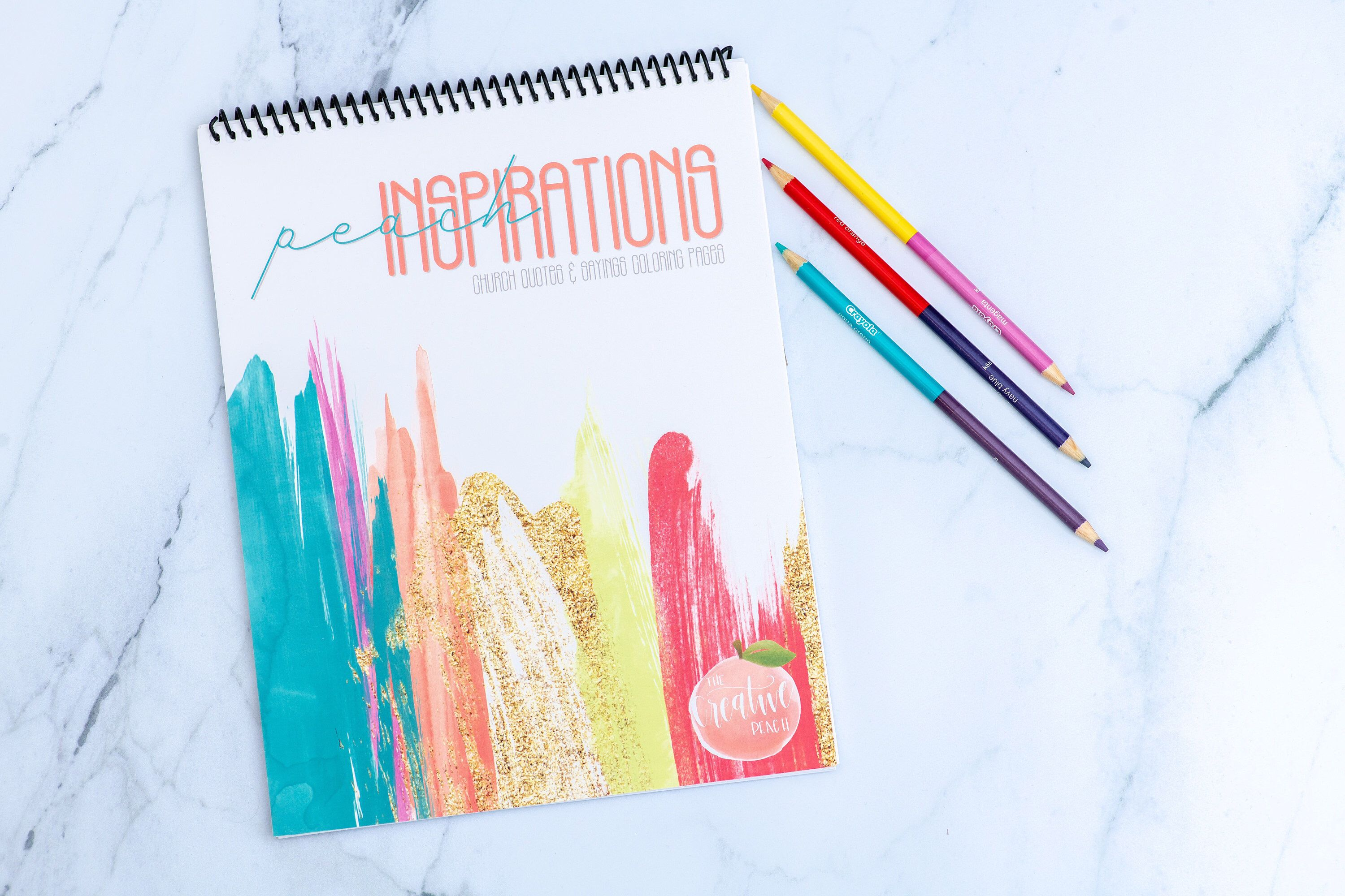 Peach Inspirations Coloring Book / Typography Coloring Pages / Church Quotes and Inspirational Sayings #churchitems