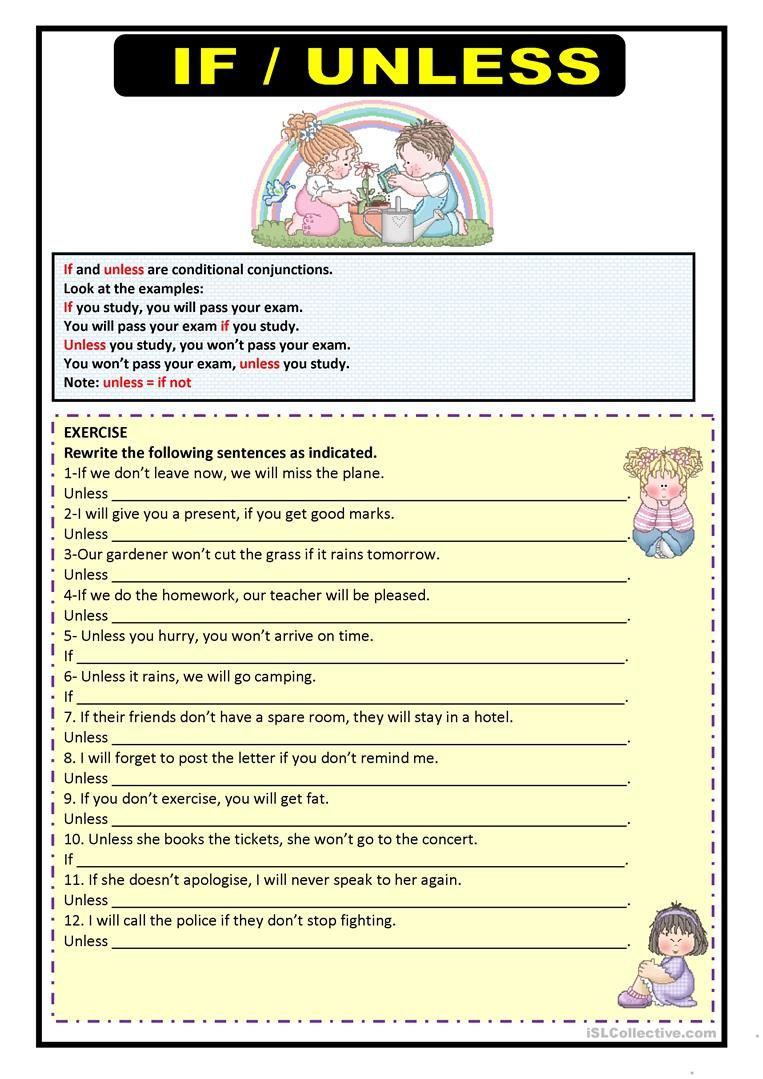 If Amp Unless Worksheet Free Esl Printable Worksheets Made By Teachers Learn English Words Learn English Vocabulary English Grammar Exercises [ 1079 x 763 Pixel ]