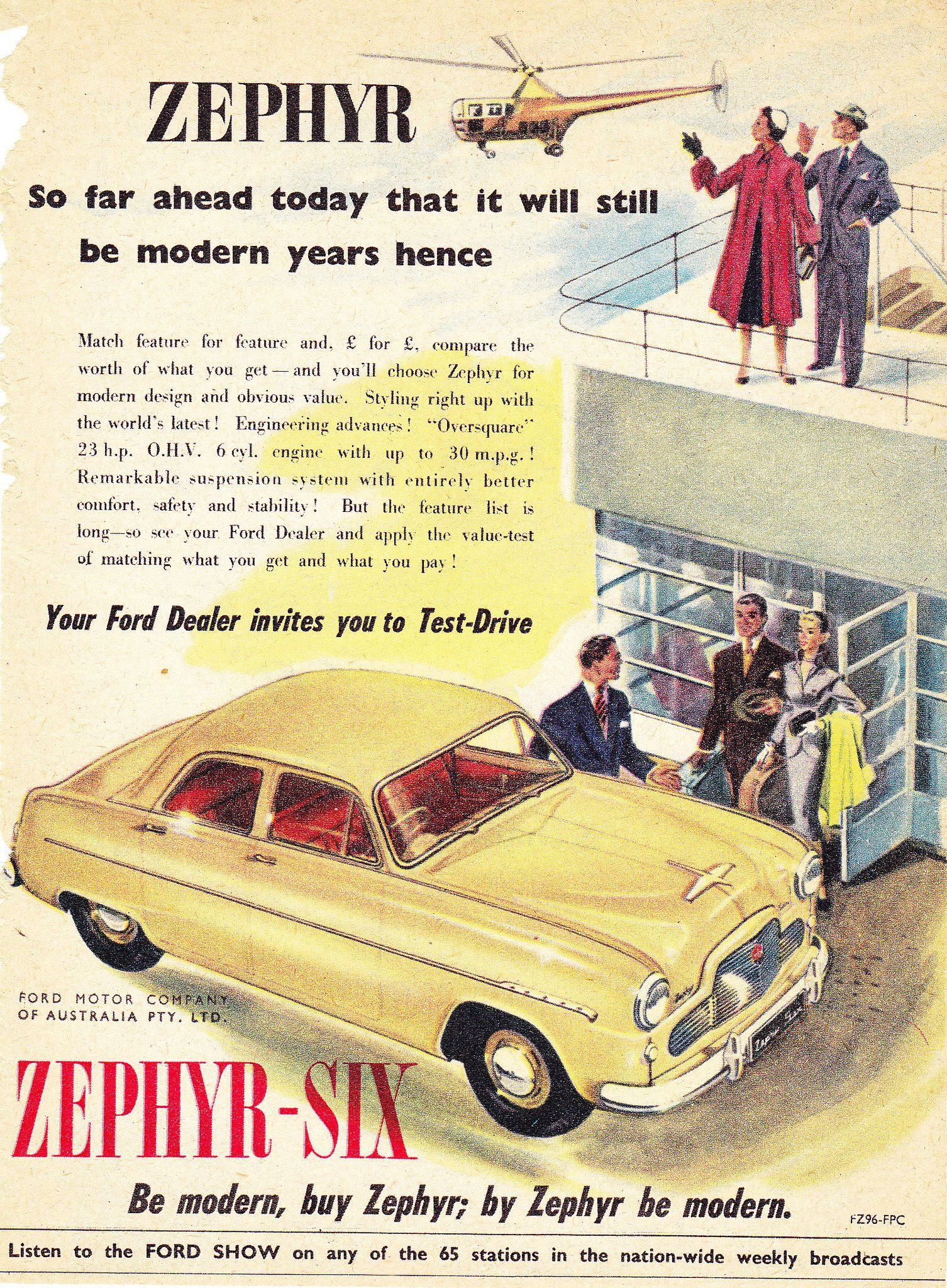1955 Ford Zephhyr Six Sedan Aussie Original Magazine Advertisement