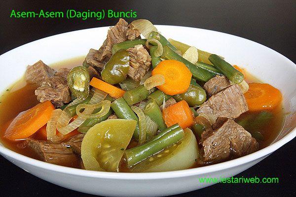 Kumpulan Resep Asli Indonesia Asem Asem Daging Buncis Rezept Grune Bohnen Lebensmittel Essen Rezepte