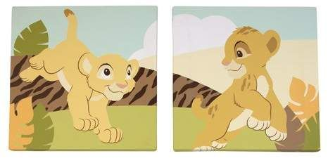 Ivory Disney Lion King Simbas Wild Adventure 2 Piece Canvas Wall Decor Brown Orange Sage