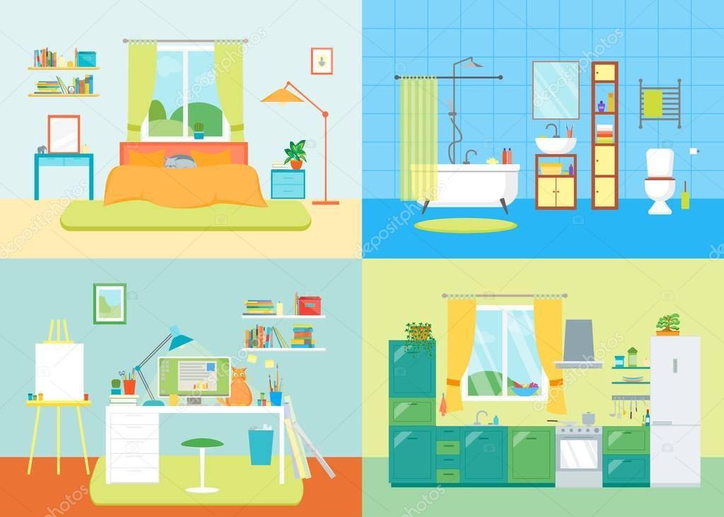 Dibujos Animados Espacio Interior Basico De Casa Lugar De Trabajo Cuarto De Bano Cocina Y Dormitorio Con Muebles Ilustracion De Vec Interior Home Decor Room