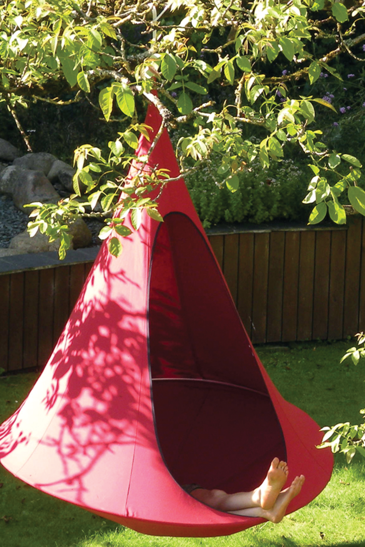 Backyard vibes in the Cacoon Hammock  https://hammocktown.com/collections/cacoon-hammocks