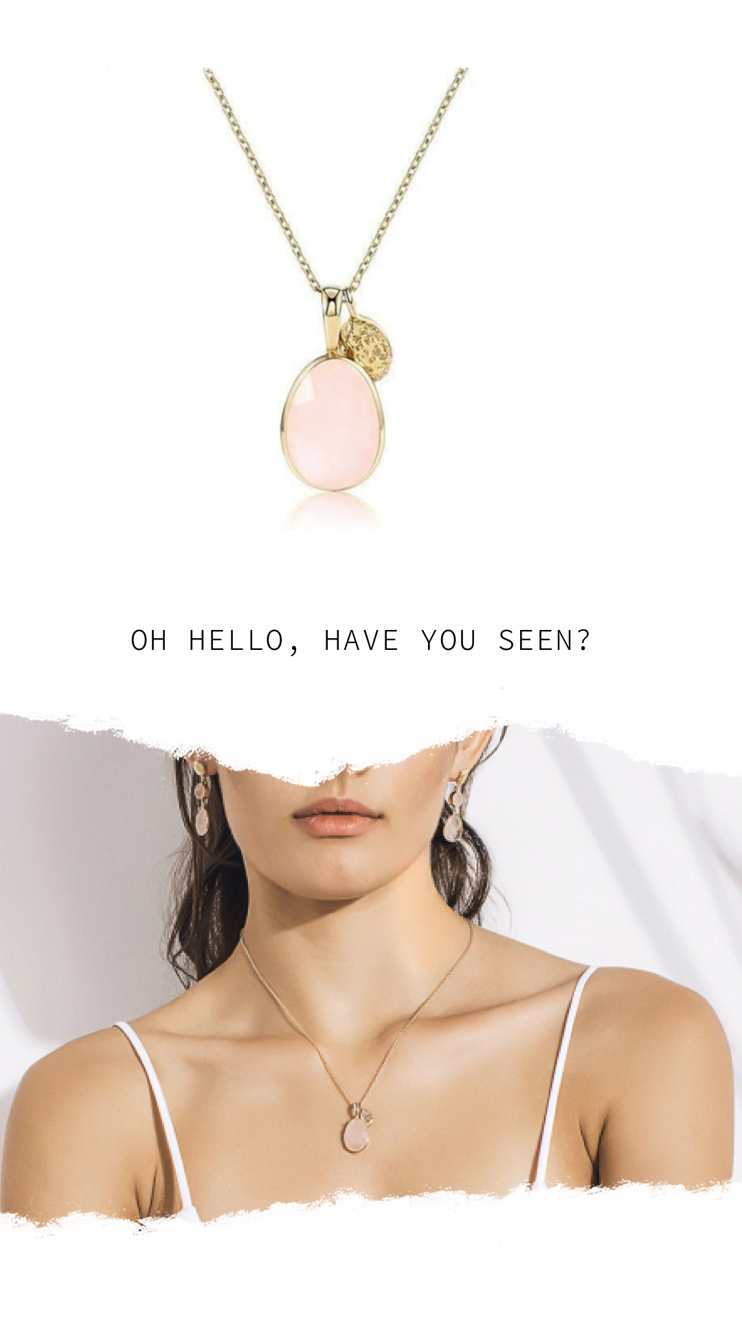 89d727676276cc This Luna Rose Quartz Necklace can bring femininity and modernity to any  layered arrangement. Presenting a pastel toned rose quartz gemstone  surrounded by ...
