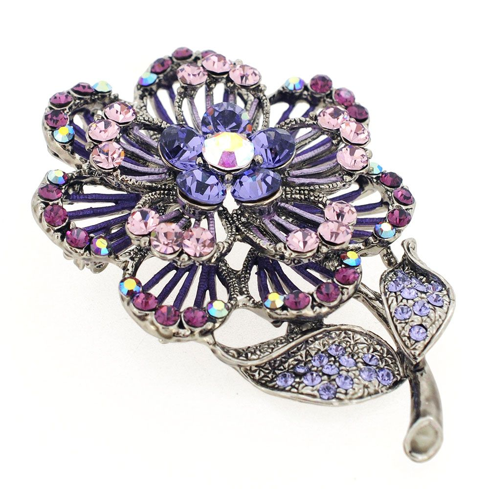 Purple Crystal Brooch | Purple Swarovski Crystal Flower Pin Brooch And Pendant