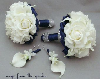 Navy White Wedding Flower Package Bridal Bouquet Stephanotis Real Touch Roses Calla Lily Groom S Boutonniere Maid Of Honor Groomsman Bout