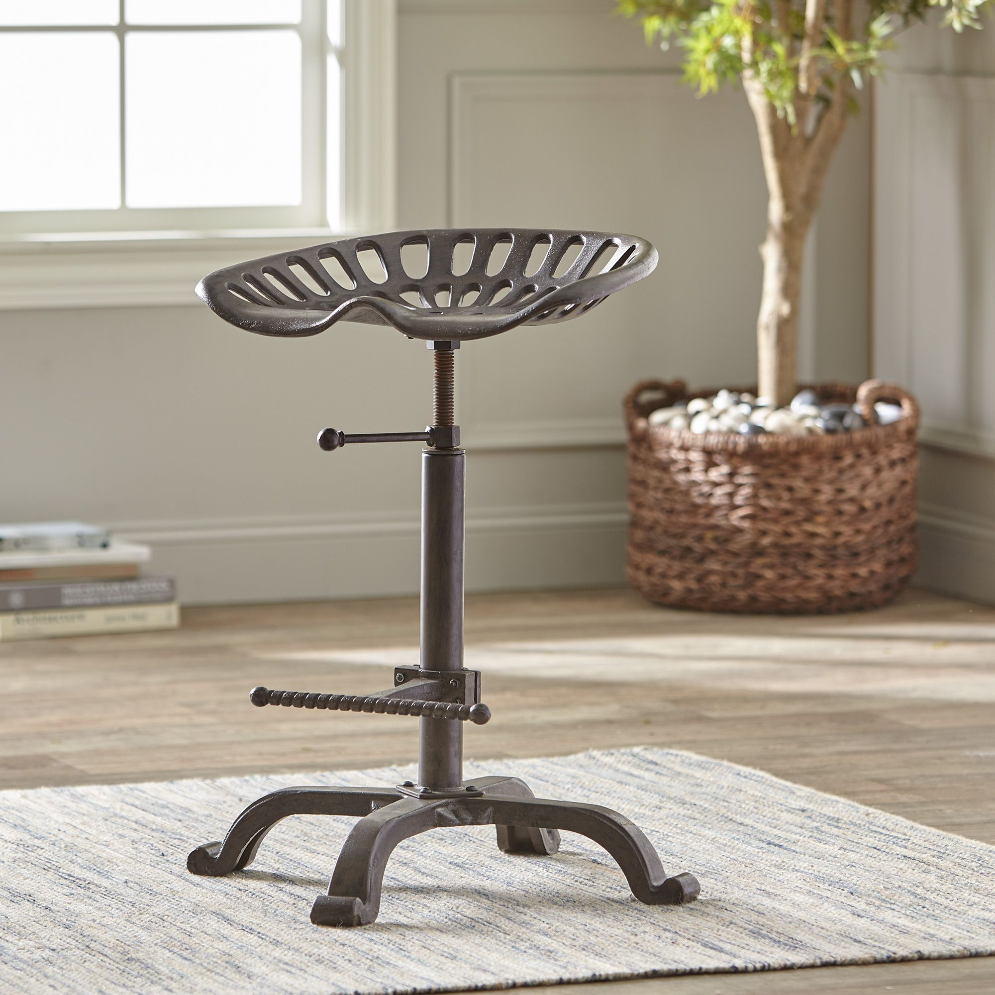 Extra-Large Farmhouse Adjustable Swivel Tractor Seat Bar Stool — Antique Iron | www.kotulas.com | Free Shipping