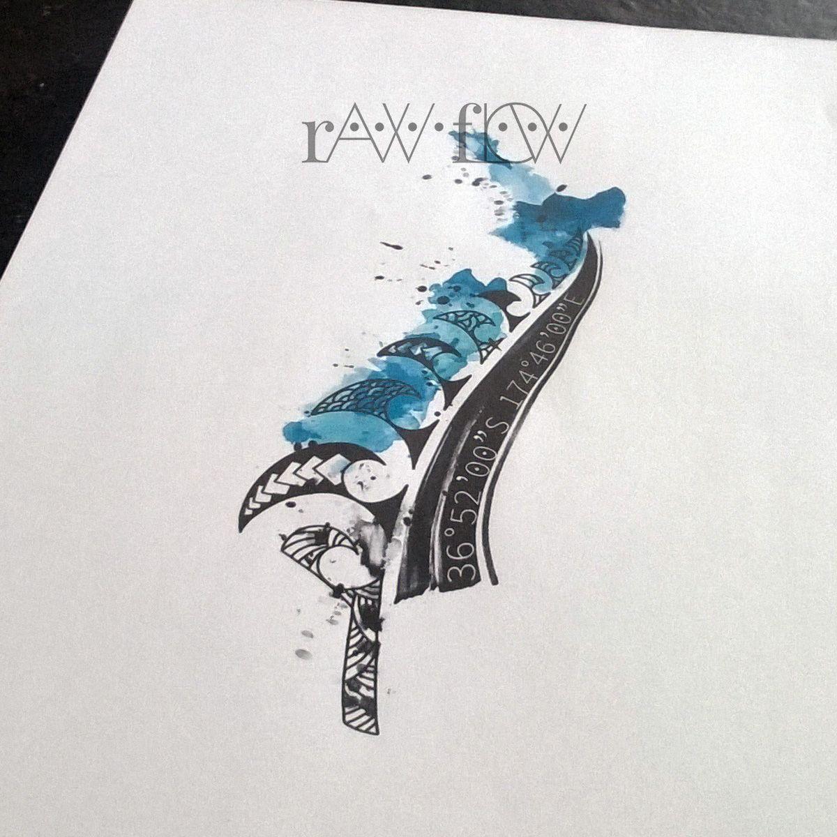 Tattoo Designs Nz: New Zealand Abstract Watercolor Coordinates Tattoo Maori