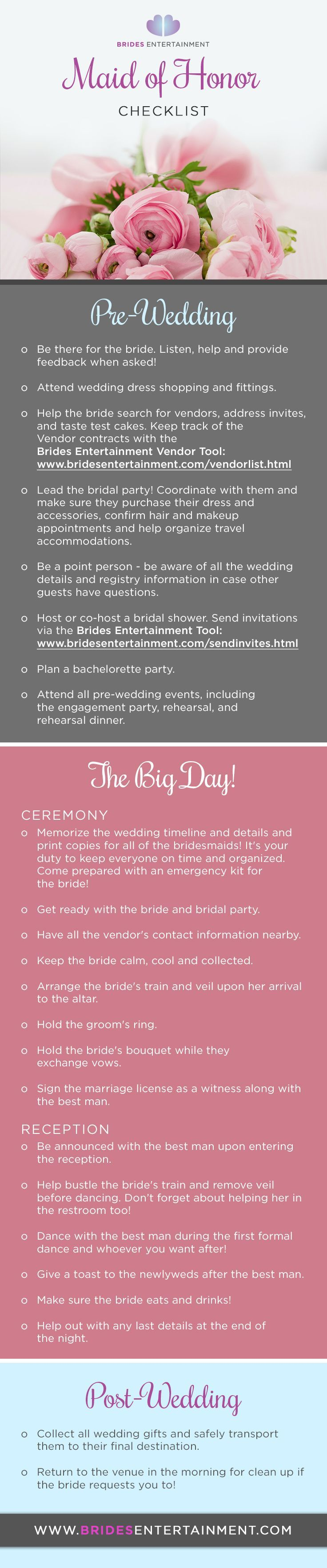 Brides Entertainment Maid Of Honor Duties Checklist Pre Wedding During And