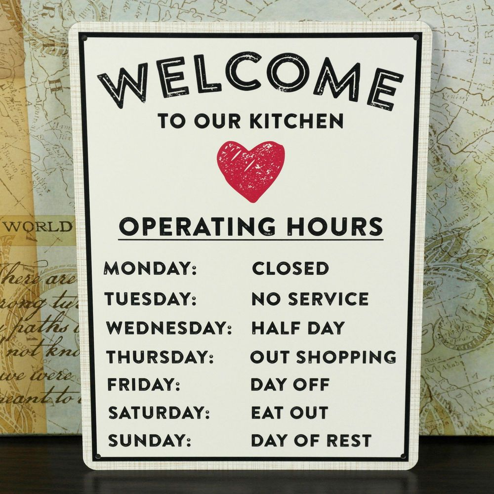 WELCOME KITCHEN FRIENDSHIP GIFT METAL PLAQUE VINTAGE TIN WALL SHABBY ...