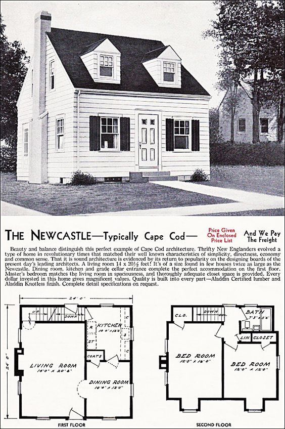 The New Castle Kit House Floor Plan Made By The Aladdin Company In Bay City Michigan In 1940 Vintage Cape Cod House Plans Vintage House Plans Cape House Plans