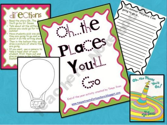 oh the places you ll go preschool activities oh the places you ll go end of the year activity prek 419