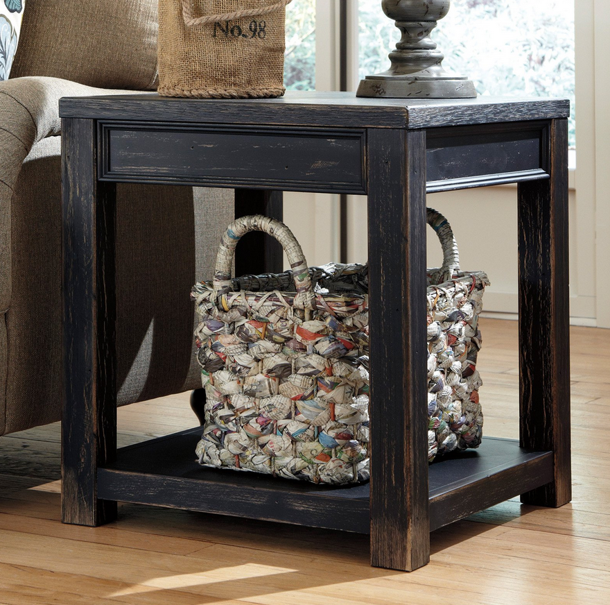 Distressed Black Square End Table Rustic End Tables End Tables
