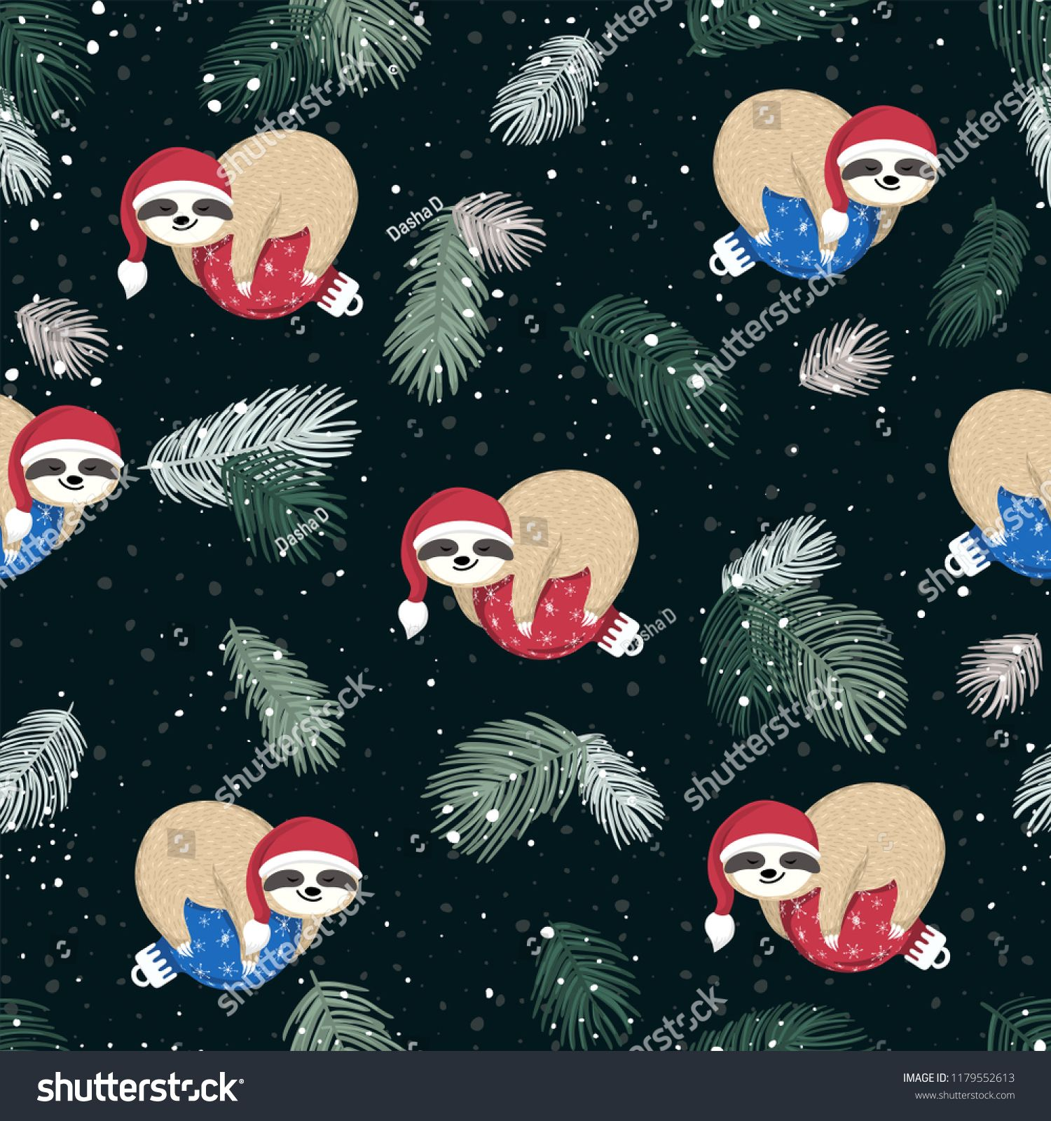 Seamless Pattern With Cute Baby Sloths Sleeping On The Blue And Red Christmas Ball Adorable Cartoon Animal Wearing Cute Baby Sloths Christmas Sloth Baby Sloth