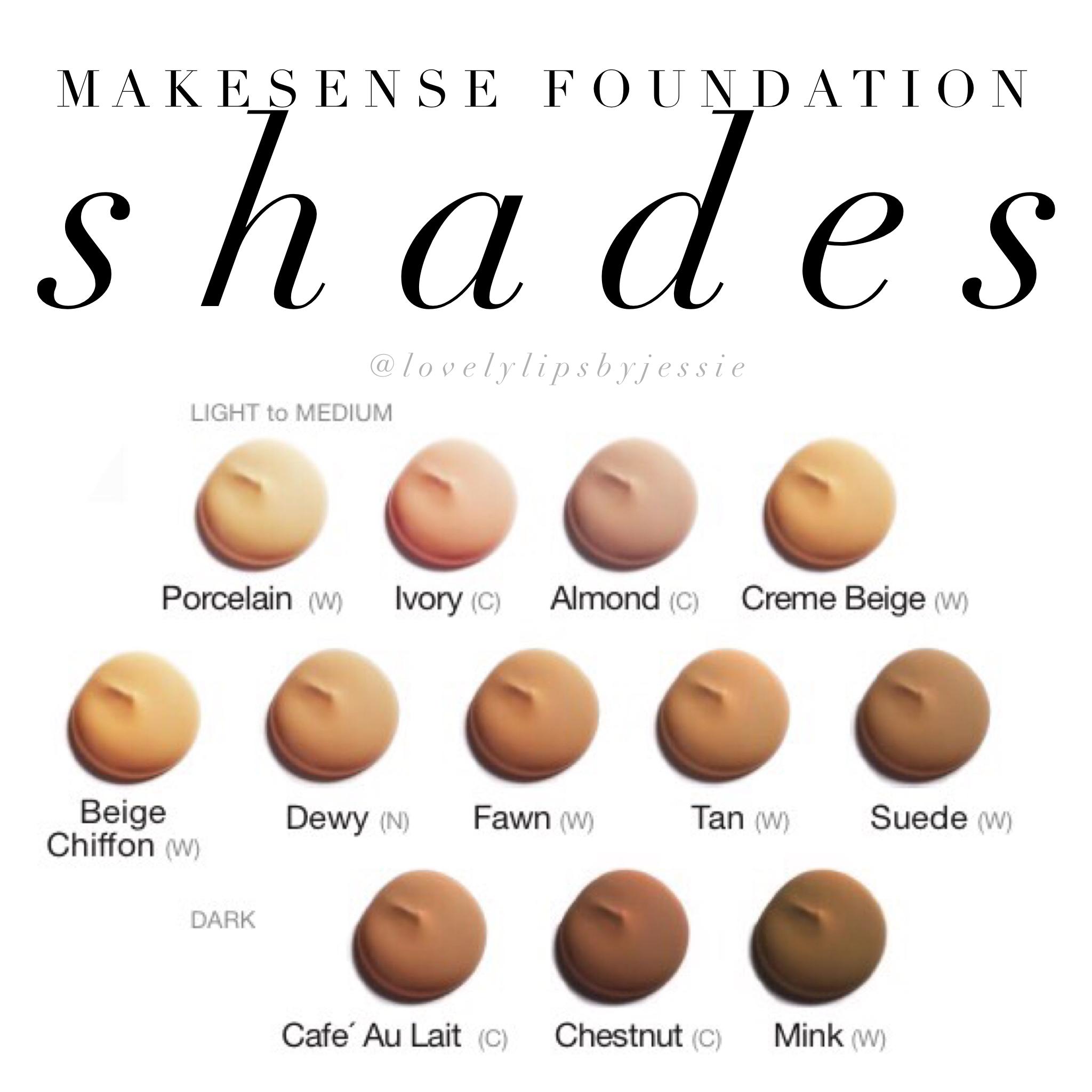 Foundation Shades Foundation shades, Makesense