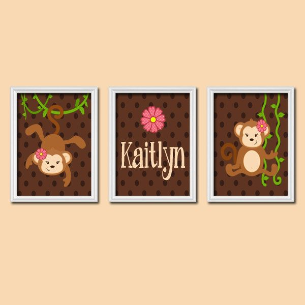 Cute Monkey Jungle Girl Custom Name Personalized Pink Brown Chevron ...