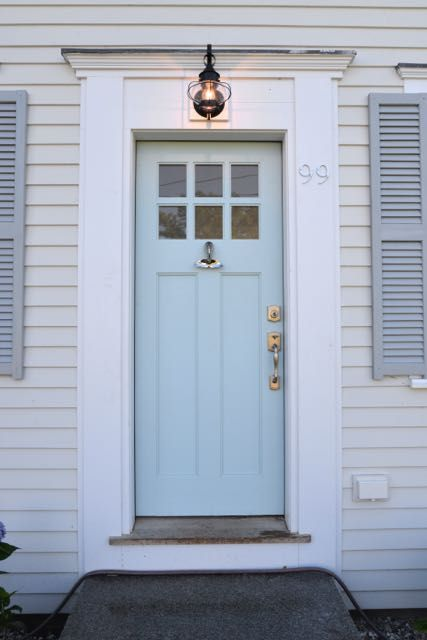 Front Door With Whale Tale Knocker Benjamin Moore Harbor