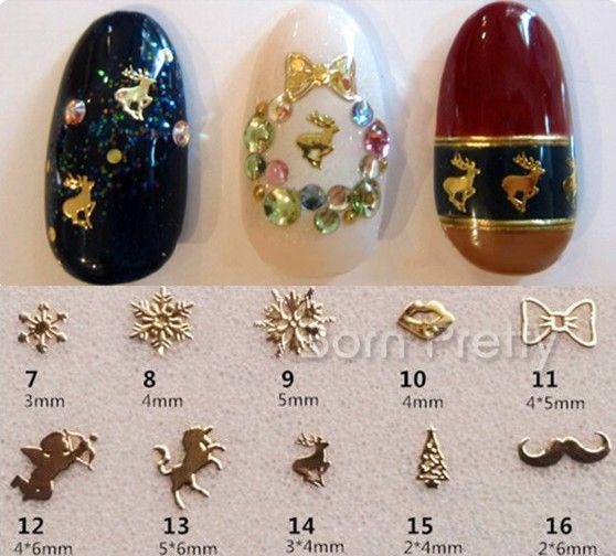 $0.99 20Pcs/set 3D Nail Decoration Gold/Silver Mini Square Shape Rivet 3D Nail Art Decoration - BornPrettyStore.com