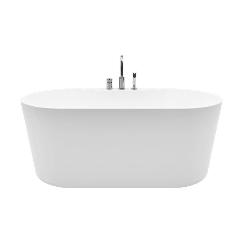 Coral 56 In Acrylic Freestanding Flatbottom Non Whirlpool Bathtub In White All In One Kit 151000 With Images Whirlpool Bathtub Free Standing Bath Tub Refinish Bathtub