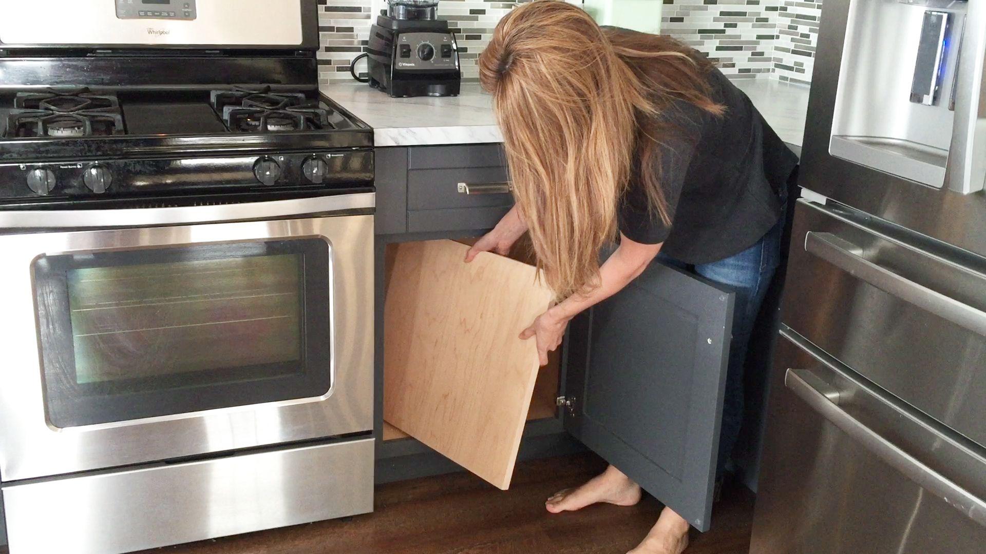 Convert A Cabinet Shelf Into A Pull Out Drawer Kitchen Cabinet Storage Kitchen Storage Organization Diy Diy Kitchen Storage
