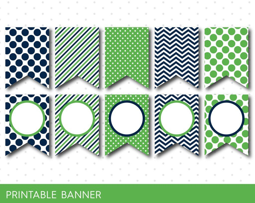 Green Party Banner Birthday Baby Shower Blank Triangle Boy Girl PB 03